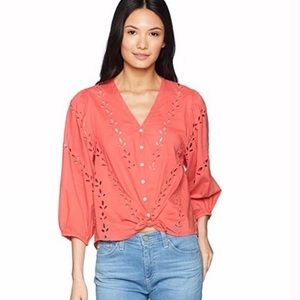 LUCKY BRAND CORAL COTTON EYELET PEASANT BLOUSE S S